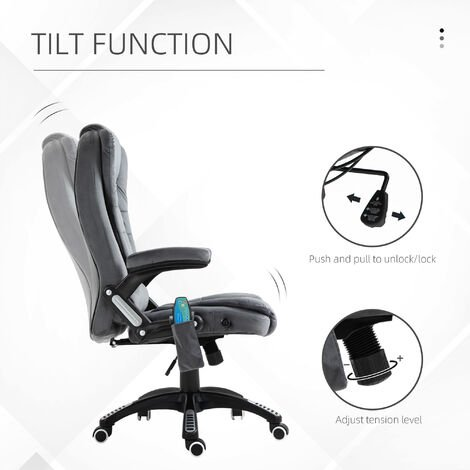 Vinsetto Velvet-Feel Office Chair w/ Heating Massage Points Reclining Grey