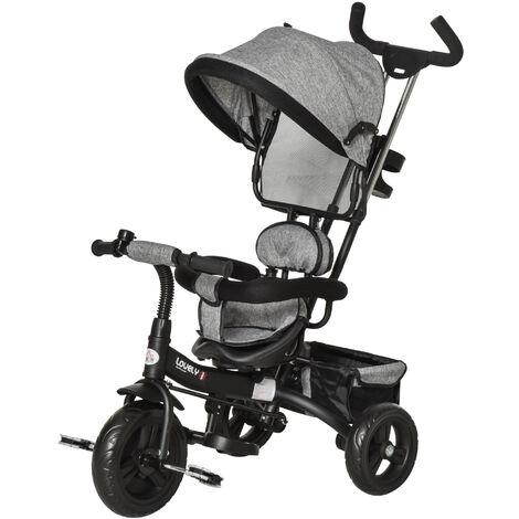 HOMCOM Kids Ride-on Tricycle w/ Adjustable Canopy Parent Handle Bike Grey