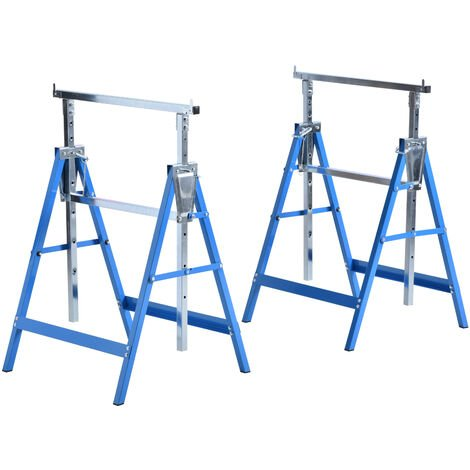 HOMCOM Set Of 2 Steel Saw Horses Telescopic Builders Work Bench Folding Blue