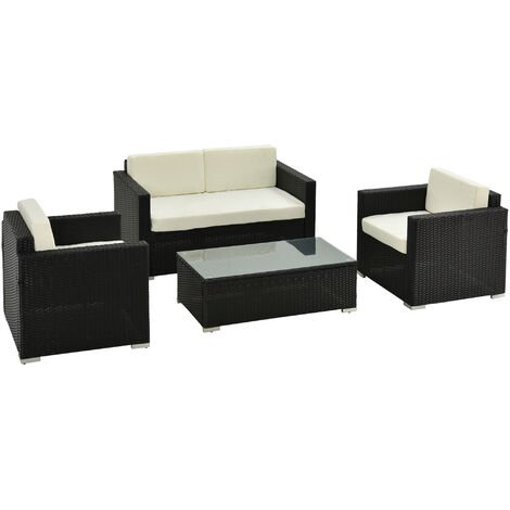 Outsunny Garden Rattan Furniture 4 PCs Sofa Table Patio Set Outdoor Wicker Weave Chairs Black