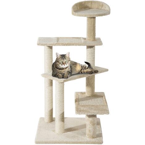 PawHut Cat Tree Kitten Scratch Scratching Scratcher Sisal Post Climbing Tower Activity Centre Beige