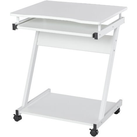HOMCOM Compact & Minimal Computer Desk w/ Wheels Keyboard Tray Office White
