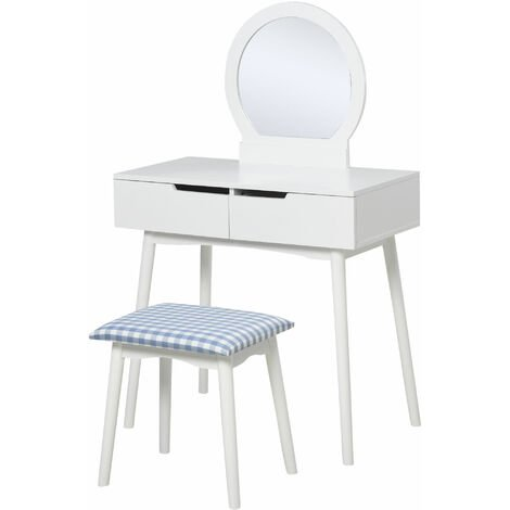 HOMCOM Dressing Table Vanity Table Set Make Up Table with Mirror & Stool White