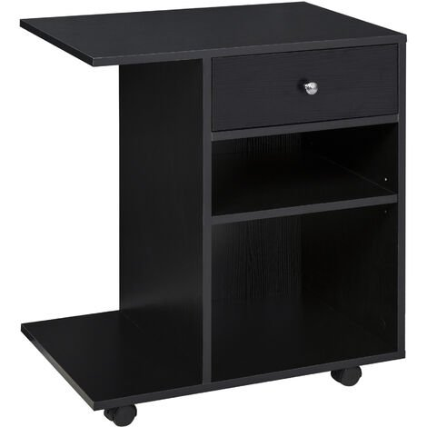 Vinsetto C-Shape Multi-Shelf Printer Stand Table w/ Locking Wheels Cart Black