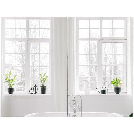 HOMCOM Double Door Wall Mounted Glass Mirror Cabinet Shelf Organiser Waterproof 80Lx60Hx15D(cm)