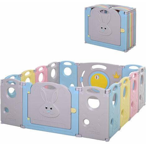 HOMCOM !4 Pc Foldable Baby Playpen Safety Gate Kids Fence w/ Toys Child