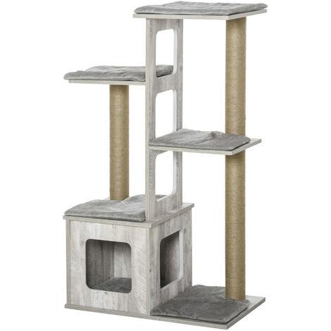 PawHut 4-Tier Modern Cat Activity Tree Tower Center Climbing Frame Kitten House