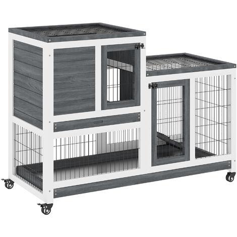 PawHut 2-Tier Wooden Indoor Rabbit Hutch w/ Metal Run Wheels Guinea Pigs Small Pets