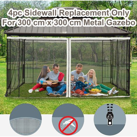 Outsunny 10x10ft Replacement Mesh Mosquito Netting Walls for Patio Gazebo
