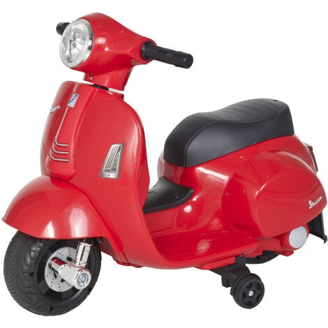 HOMCOM Vespa Licensed Kids Ride-On Motorcycle 6V Battery 18-36 Months Red