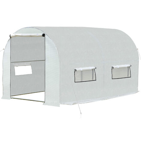 Outsunny 13X7FT Large Walk-In Polytunnel Greenhouse w/ Roll-Up Doors 6 Window