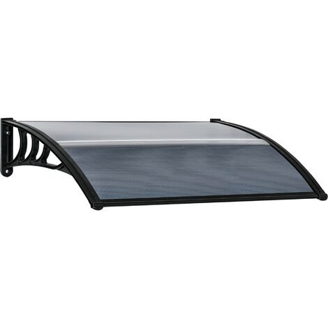 Outsunny 100cm Single Door Window Canopy Rain Shelter Cover Protector Black