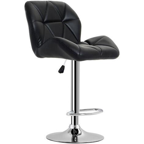 HOMCOM Diamond Design Swivel Bar Stool Kitchen / Pub Metal Chrome Base - Black
