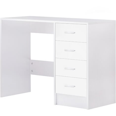 HOMCOM High Gloss Office Table w/ 4 Drawer Home Office Study Furniture White