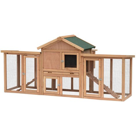 PawHut Wooden Chicken Coop Backyard Hen Cage House w/ Nesting Box & Run