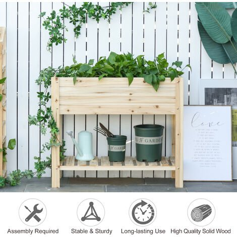 Outsunny 84cm Wooden Raised Garden Plant Bed Stand Outdoor Flower Grow Bed Box