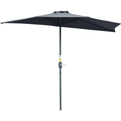 Outsunny 2.7m Half-Cut Outdoor Parasol Umbrella Compact Balcony Sun Shade