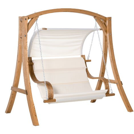 Outsunny Wooden A-Frame Garden Swing Chair Bench Chair w/ Canopy & Cushion