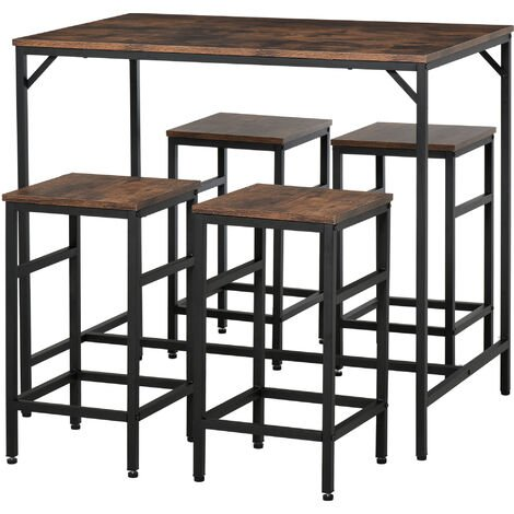 HOMCOM Industrial Rectangular Dining Table Set w/ 4 Stools Home Dining Furniture