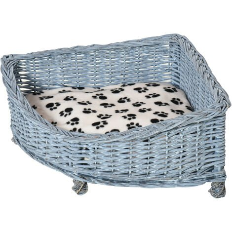 PawHut Wicker Dog Corner Basket Pet Bed Sofa w/Cushion Elevated Base 58x58cm