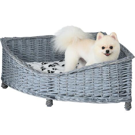 PawHut Wicker Dog Corner Basket Pet Bed Sofa w/Cushion Elevated Base 68x68cm