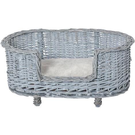 PawHut Wicker Dog Bed Basket Pet Sofa Lounge Furniture w/ Base Cushion 71x40cm