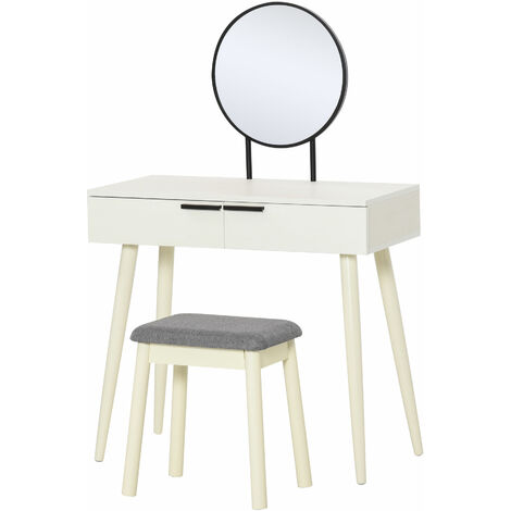 HOMCOM Dressing Table Bedroom Vanity w/ Round Mirror 2 Drawers Stool White
