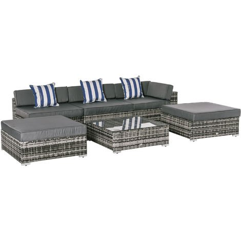 Outsunny 6 Pieces Rattan Funiture Set Conservatory Sofa Deluxe Wicker Garden
