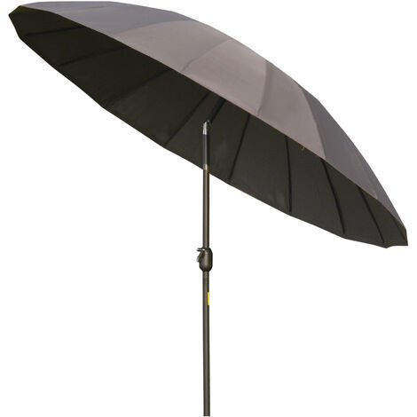 Outsunny 2.4m Round Curved Adjustable Parasol Outdoor Umbrella Metal Pole Grey