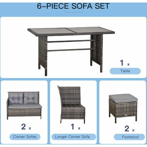 Outsunny 6 Pcs Rattan Garden Dining Wicker Furniture w/ Glass Top Table Cushions