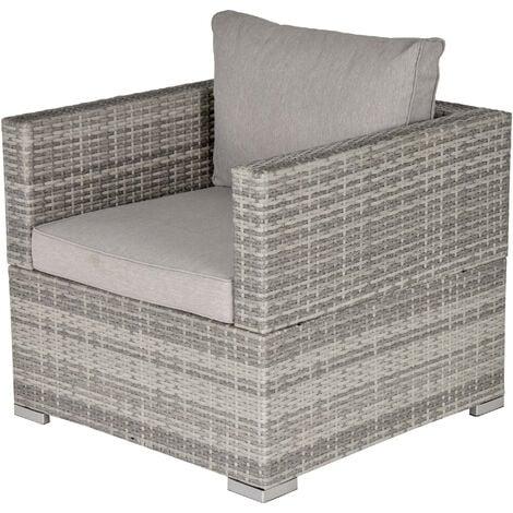 Outsunny Single Wicker Furniture Sofa Chair w/ Padded Cushion Garden Balcony Grey