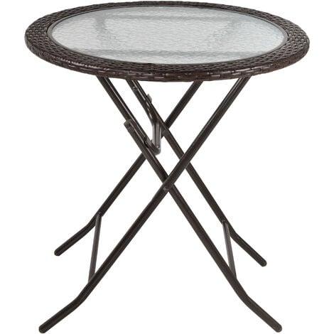 Outsunny Folding Rattan Edge Round Table w/ Tempered Glass Centre Garden Furniture