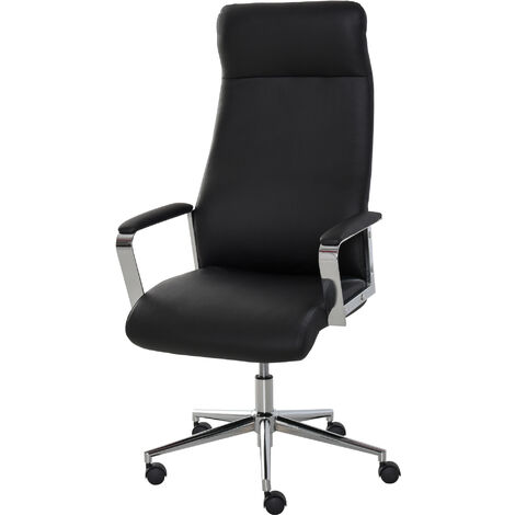Vinsetto Faux Leather High-Back Office Work Chair Swivel Seat w/ Wheels Black