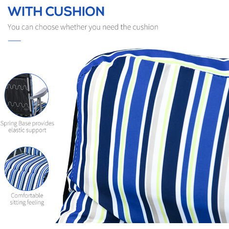 Outsunny Set of 2 Adjustable Sun Lounger Recliner Reclining Seat Blue White