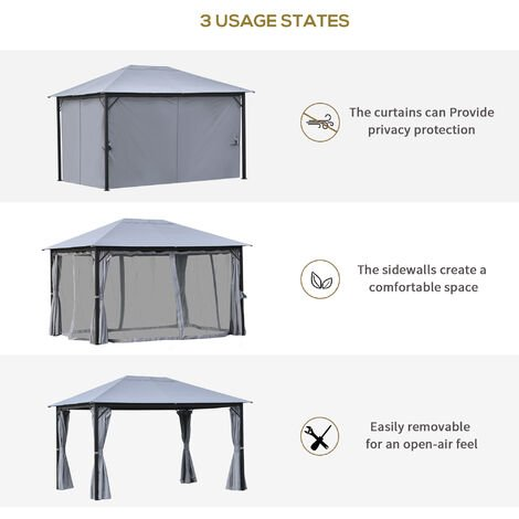 Outsunny 4x3m Outdoor Gazebo Canopy Pavilion w/ Curtains Netting Sidewalls