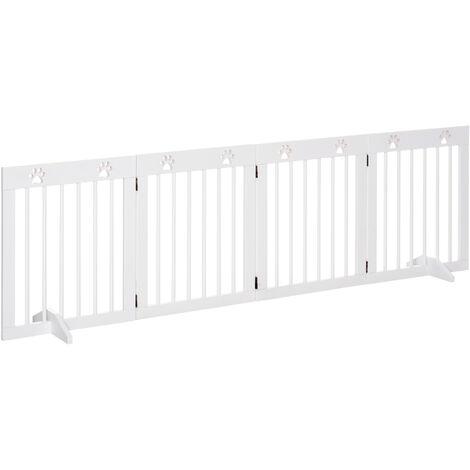 PawHut 204cm 4-Panel Wooden Pet Gate Dog Barrier Folding Fence w/ Support Feet