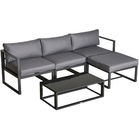 Outsunny 5 Pcs Outdoor Garden Seating Sofa Set w/ Padded Cushion Table Grey