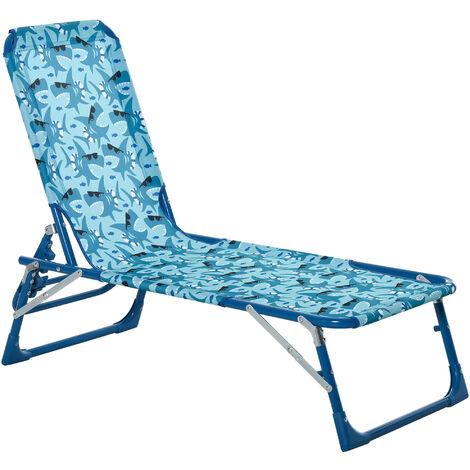 Outsunny Kids Reclining Folding Garden Zero Gravity Chairs Lounge Chair Sun Lounger Blue