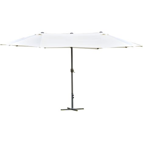 Outsunny Sun Umbrella Canopy Double-sided Crank Sun Shade Shelter 4.6M White