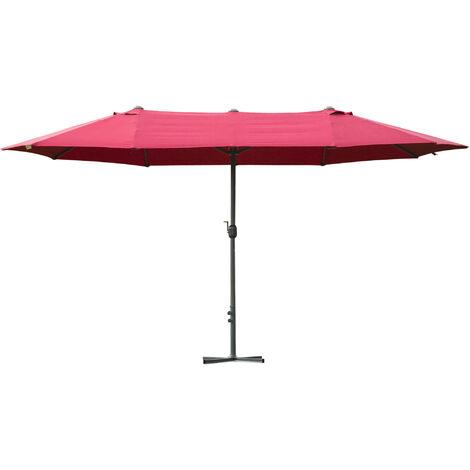 Outsunny 4.6M Sun Umbrella Canopy Double-side Crank Sun Shade Shelter Wine Red