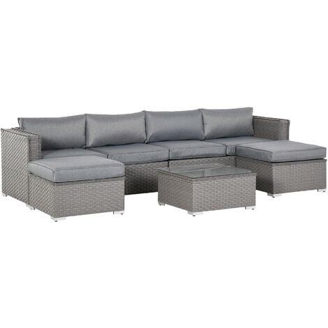 Outsunny 5 Pcs PE Rattan Corner Sofa Set Outdoor Conservatory Furniture w/ Cushion