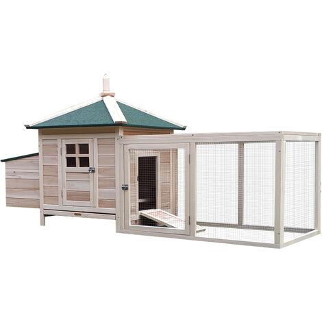 PawHut Wooden Chicken Coop Hen Poultry House w/ Nesting Box Outdoor Run Brown