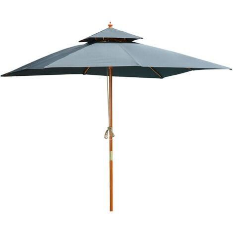 Outsunny 3m Wood Square Patio Umbrella Garden Market Parasol Sunshade Grey