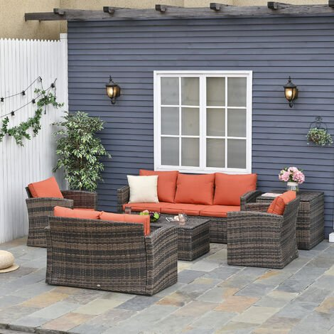 Outsunny 6 Pcs Rattan Outdoor Dining, Outsunny Outdoor Furniture