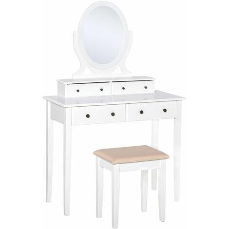 HOMCOM Dressing Table Set with Mirror & Stool 4 Drawers Makeup Dresser Desk
