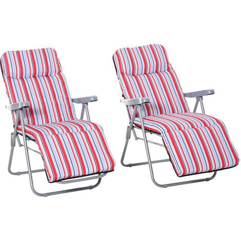 Outsunny Set of 2 Adjustable Sun Lounger Recliner Reclining Seat Red White