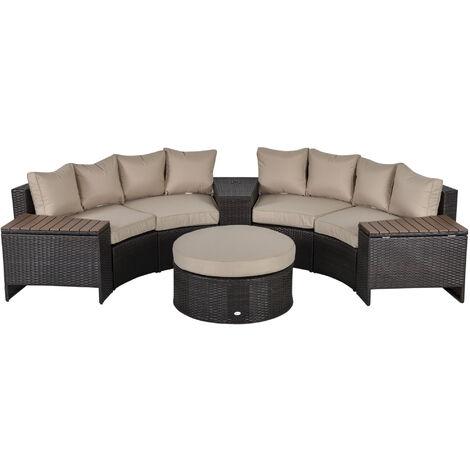 Outsunny 8 Pcs Patio Rattan Conversation Furniture Set w/ Side Table Cushions Beige