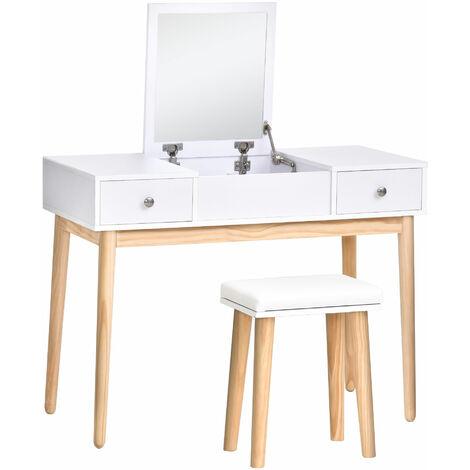 HOMCOM 2-Drawer Dressing Table Set w/ Mirror Padded Stool Makeup Bedroom