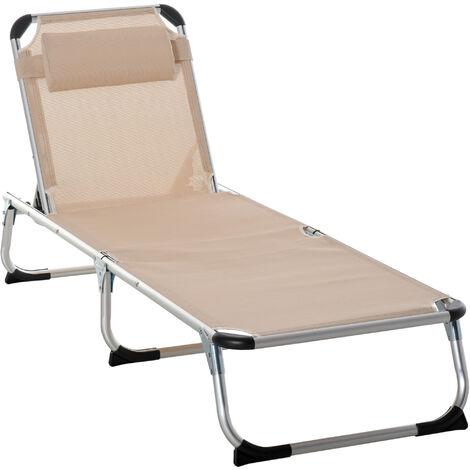 Outsunny Aluminium Frame Folding Outdoor Reclining Sun Lounger Chair Khaki