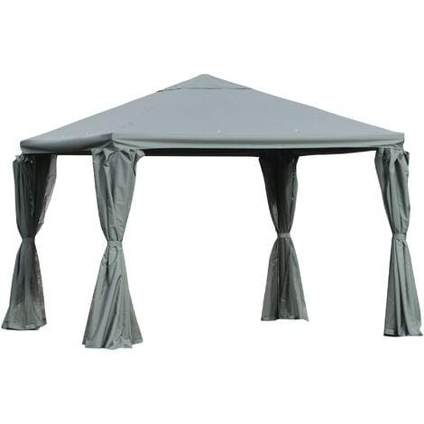 Outsunny 3(m) Aluminium Frame Outdoor Gazebo Canopy Party Tent w/ Walls